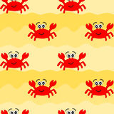 Funny crab on the beach seamless pattern Stock Photography