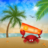 Funny crab with sun lotion Stock Photo