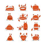 Funny crabs set, sketch for your design Stock Photos