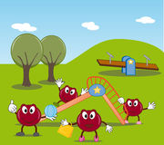 Funny cranberry family at the park. Funny carton style illustration: a smiling cranberry family at the park Royalty Free Stock Image