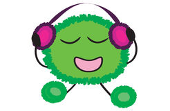Funny crank. To listing music with headphones Stock Photography