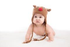 Funny crawling baby girl isolated on white background.  Stock Photo