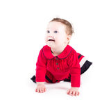 Funny crawling baby girl in a red dress stock photos
