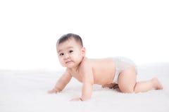 Funny crawling baby girl. On white background Stock Photos