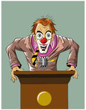 Funny crazy clown stands for the podium Royalty Free Stock Photo