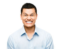 Funny crazy face man mixed race latino Royalty Free Stock Image