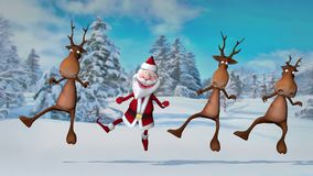 Funny crazy Santa Claus and deers are dancing in the Christmas winter forest. The concept of Christmas and New Year. Seamless Loop