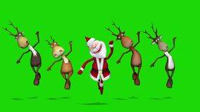 Funny crazy Santa Claus and deers are dancing. The concept of Christmas and New Year. Seamless Loop. Green screen.