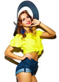 Funny crazy stylish girl model in summer hipster cloth Stock Images