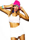 Funny crazy stylish girl model in summer hipster cloth Stock Photos