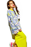 Funny crazy young woman model in summer bright colorful hipster clothes Royalty Free Stock Photography
