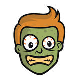 Funny Crazy Zombie Head Character Design Stock Image