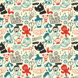 Funny creatures collection. Seamless pattern. Royalty Free Stock Photos