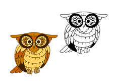 Funny creech owl with yellow and brown plumage Royalty Free Stock Photo