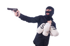 Funny criminal with gun isolated Royalty Free Stock Photography