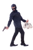 Funny criminal with gun isolated Royalty Free Stock Image
