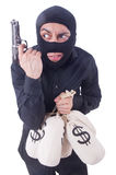 Funny criminal with gun isolated Royalty Free Stock Photo