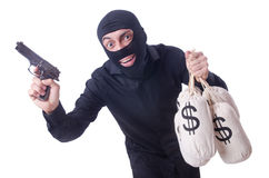 Funny criminal with gun isolated Stock Image