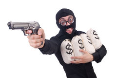 Funny criminal with gun Royalty Free Stock Photography