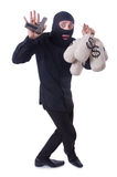Funny criminal with gun isolated Stock Photo