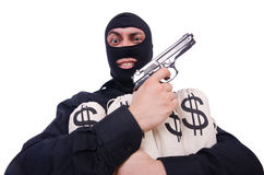 Funny criminal with gun isolated Royalty Free Stock Photos