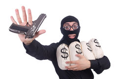 Funny criminal with gun isolated Stock Photos