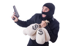 Funny criminal with gun isolated Royalty Free Stock Images