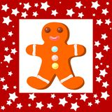 Funny Cristmas cookie with red frame Royalty Free Stock Photos