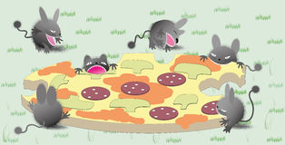 Funny critters with the pizza. Vector illustration for your design Stock Photo