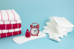 Funny crochet blood drop, red clock, terry towels, daily and menatrual pad, tampon. Menstruation sanitary woman hygiene. Woman cri Stock Photography