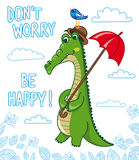 funny crocodile with bird and umbrella Royalty Free Stock Photos