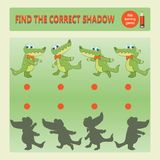 Funny crocodile. Find the correct shadow. Educational game for children. Cartoon vector illustration. Kids learning games collection Royalty Free Stock Images