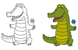 Funny crocodile with flower. Coloring pages for childrens with funny animals,funny crocodile with flower royalty free illustration