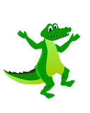 Funny crocodile. Illustrated funny smiling crocodile on a white background Stock Images