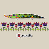 Funny crocodile patterned with an inscription in English. Stock Images