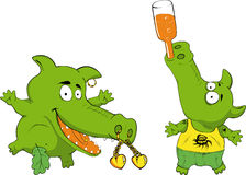 Funny  crocodiles. An illustration of funny crocodiles as cartoon characters with tattoos and piercings Royalty Free Stock Images