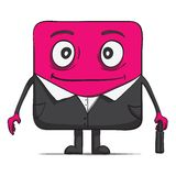 Funny cube dude businessman in suit. Square Stock Photography