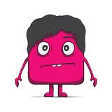 Funny cube dude with hair. Square character. Royalty Free Stock Photography