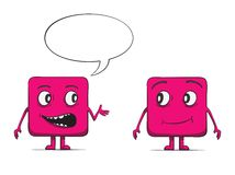 Funny cube dudes talking. Square characters. Royalty Free Stock Photography