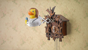 Funny cuckoo clock. A funny wooden cuckoo clock with a plastic nurse duck coming out Royalty Free Stock Images
