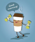 A funny cup of coffee. Good morning. Vector illustration. Royalty Free Stock Photos