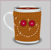Funny cup in a sweater with buttons Royalty Free Stock Images