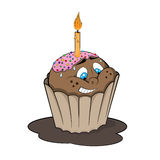 Funny cupcake with candle. Cartoon style. Funny cupcake with candle for birthday party. Cartoon style. Vector illustration Stock Photography