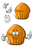 Funny cupcake character with happy face and hands Royalty Free Stock Image