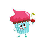 Funny cupcake character with pink cream topping Stock Photo