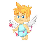 Funny cupid with an arrow of love. Cartoon illustration of a Valentine`s Day. Vector Stock Photography