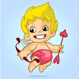 Funny cupid with bow and arrow. Illustration of a Valentine's Day. Vector. On blue background Royalty Free Stock Image