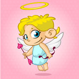 Funny cupid with bow and arrow. Vector illustration of a Valentine's Day. Royalty Free Stock Image