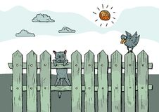 Funny curious cat standing on fence. This is file of EPS8 format Royalty Free Stock Photos