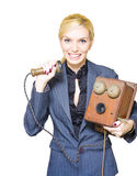 Funny Customer Service. Vintage Call Center Receptionist Screaming Yelling And Shouting Down The Line Of A Old Telephone In A Hilarious And Funny Customer Royalty Free Stock Images